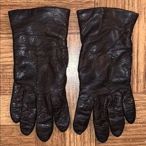 Women's Brown Real Leather Gloves Size 7